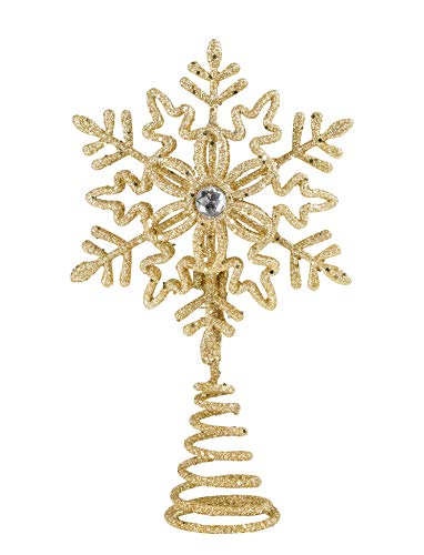 Christmas Traditions 5 inch Gold Glittered Filigree Christmas Star Snowflake Tree Topper Star for Small/Mini X'Mas Tree/Home Decor Ornaments (Gold)