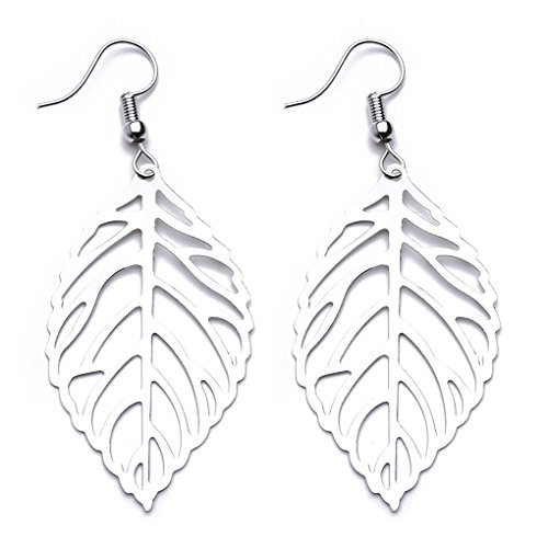 CanViUK - Pendientes de gota para mujer, diseño de hojas huecas, Silver Color, As description