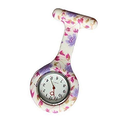 FGMGFTG Reloj de Broche Duradero La Manera Simple Floral Enfermera con Clip Fob Accesorios Colgantes Colgantes Reloj de Bolsillo Enfermero Doctor Paramédico Médico (Color : Pink)