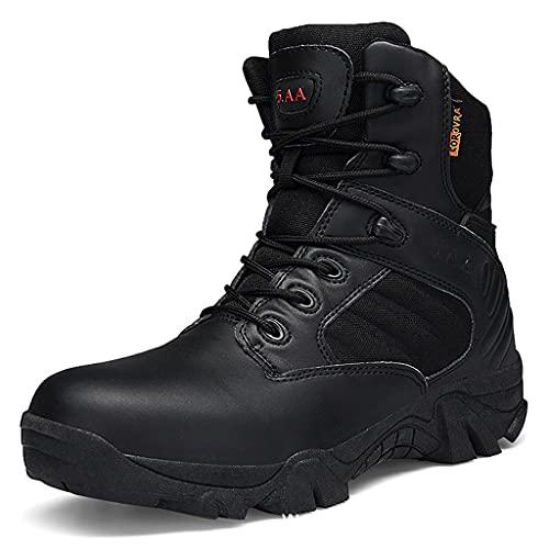 YUHAI Botas tácticas de los Hombres Botas Militares Altas Top Velor Double Velor Lace Up Zapatos para Alpinismo, Senderismo, Caza, Camping, Black-46(UK 12)
