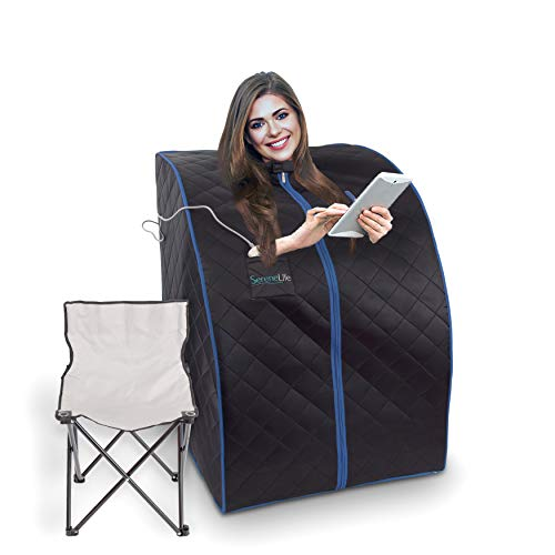 SereneLife Oversize Portable Infrared Home Spa | One Person Sauna | with Heating Foot Pad & Portable...