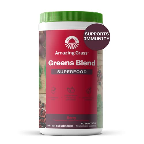 Amazing Grass Greens Blend Superfood: Super Greens Powder with Spirulina, Chlorella, Beet Root Powder, Digestive Enzymes & Probiotics, Berry, 60 Servings (Packaging May Vary)