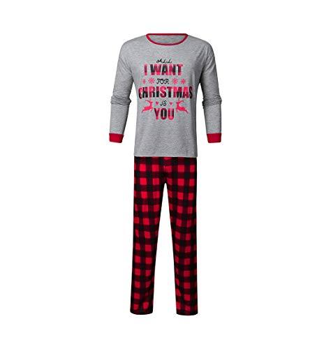HEVÜY Schlafanzüge für die ganze Familie, Motiv: Weihnachten, Weihnachtspyjama, passende Sets
