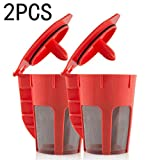 ELECTROPRIME 2pcs Refillable Reusable K-Cup Coffee Filter Pod Fit for Keurig 2.0 Coffee