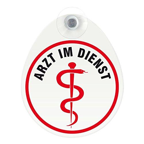 Schild, Autoschild Arzt im Dienst mit Saugnapf, 1,1mm wetterfestes Material 100 x 120 mm groß, von innen oder außen