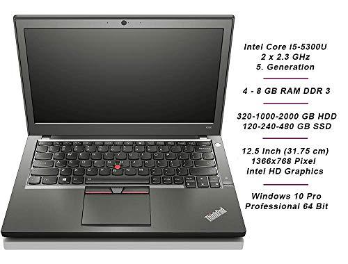 Lenovo ThinkPad X250 Mobiles Notebook, Intel i5 2 x 2.3 GHz, 8 GB Arbeitsspeicher, 180 GB SSD, 12.5 Zoll Display, 1366x768, Cam, Windows 10 Pro, 1366 (Generalüberholt)
