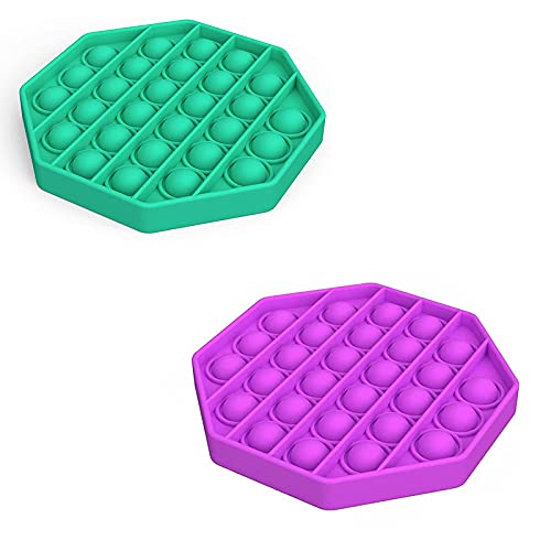 ZNNCO Push Pop Bubble Sensory Toy , Stress Relief and Anti-Anxiety Toy for Kids Adults (Universal) (2PCS Octagon,Green+Purple)