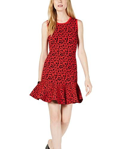 GUESS $128 Womens New 1182 Red Printed Flounce Sweater Dress XS B+B