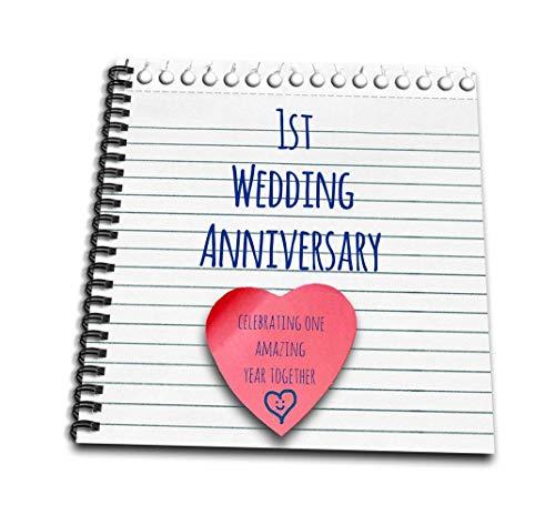 """3dRose db 154428_ 11st Aniversario de Boda Papel de Regalo celebración de 1año Juntos Primer Aniversario un años Dibujo Libro, 8x 8"""""""