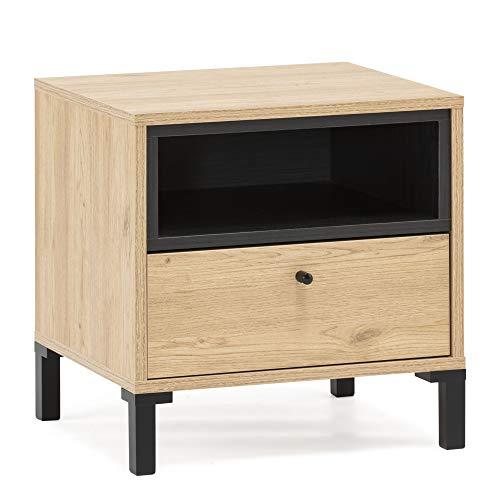 VS Venta-stock Javea Nachttisch mit 1 Schublade und 1 Loch, Holzfarbe und Schwarz, 45 cm (Breite) 40 cm (Tiefe) 47,5 cm (Höhe)