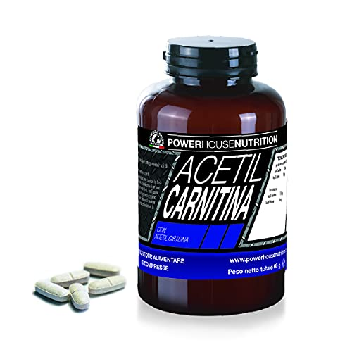 ACETIL CARNITINA Powerhouse Nutrition   Integratore Alimentare a Base di Acetil L-Carnitina   Favorisce Aumento Muscolatura & Perdita Grasso Migliora Prestazioni & Attenua Stress Fisico (60 compresse)