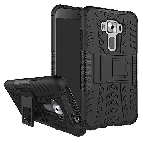 MAMA MOUTH Zenfone 3 5.2 ZE520KL Custodia, Duro Shock Proof Copertura Rugged Heavy Duty Antiurto in Piedi Custodia Caso Case per ASUS Zenfone 3 5.2 ZE520KL Smartphone 2016,Nero