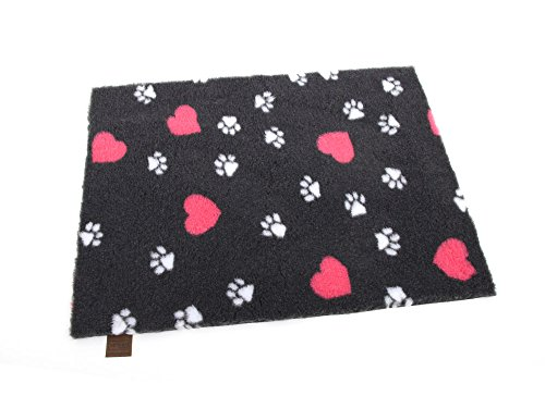 Original Vetbed™ Isobed SL -Hearts & Paws- anthrazit 100 x 75 cm