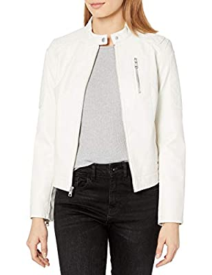 Levi's Women's Faux Leather Motorcross Racer Jacket, Oyster, X-Large