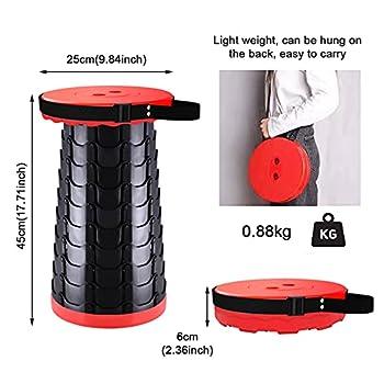 ACHANFLY Portable Tabouret Pliant Camping Tabouret Retractable Capacité de Charge de 150KG, Hauteur Réglable pour Cuisine et Jardin Pêche BBQ Activités Plein Air