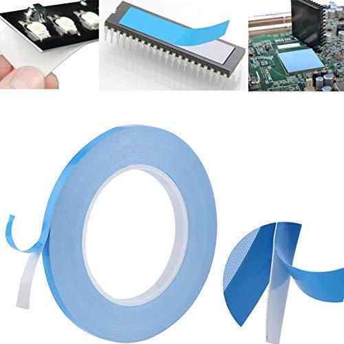 CTRICALVER Termisk självhäftande tejp, dubbelsidig termisk tejp för LED-belysning Ic och LED-tv-apparater med utmärkt isolering, hög värmeledningsförmåga (10 mm 25 m)
