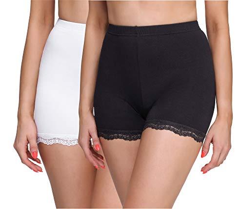 Merry Style Damen Shorts Radlerhose Unterhose Hotpants kurze Hose Boxershorts aus Viskose 2 Pack MS10-294 (Schwarz/Weiß(2Pack), XL)
