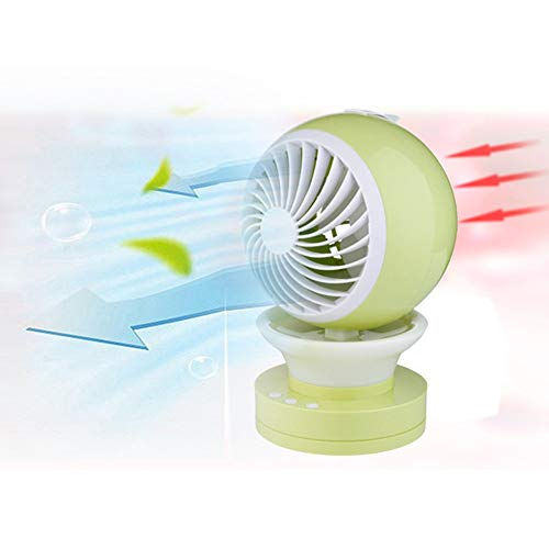Scra AC Bell Mini Ventilador LED Light Mute USB recargado Spray Cooling Office Desktop (Color : Green)
