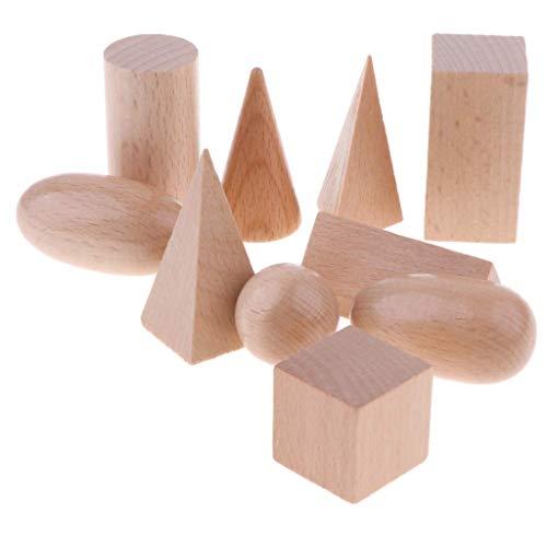 10pcs 3D Geometric Solid Model--Wooden Building Blocks Set for Children--Montessori Educational Toys--Geometry Early Educational Cognitive Blocks Toys--Math Educational Toys for Children