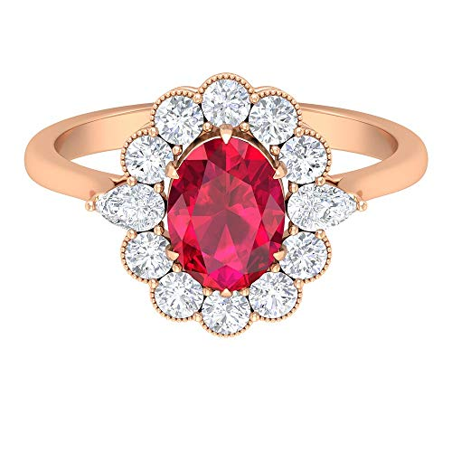 Rosec Jewels 18 quilates oro rosa ovalada round-brilliant-shape pear-shape H-I Red Diamond Ruby