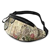 mengmeng Vintage Butterflies Bumbag Cintura Fanny Pack Running Belt Hombres Mujeres Unisex Bum Bag Ajustable Bolsa de Cinturón Bolsa para Aire Libre Entrenamiento Senderismo Regalos