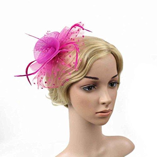 Bobury Femmes Fleur Plume Net Chapeau Mini Pince à Cheveux pour Banquet de fête de Mariage