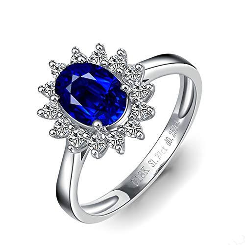 Bishilin Anillo de Oro Blanco 750 Reales Clásico Azul Zafiro Diamante Anillo de La Banda de Bodas de Compromiso de Aniversario Forma Ovalada Joyas Elegantes para Cumpleaños Navidad Año Nuevo Azul