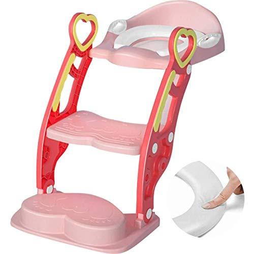 ZHANG Escalera para Inodoro, Patrón de Corazón de Melocotón, Escalera Ajustable, Orinal con Taburete, Asiento de Inodoro y Escalones, Viajes para Niños,Pink