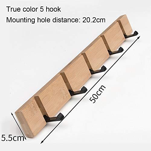 kMOoz Lijmhaak, Zelfklevende haken, Kleren haak houten vouwhaak deur opknoping muur haak massief hout muur creatieve jas haak Natural Color Five Hooks:50x5.5x2cm