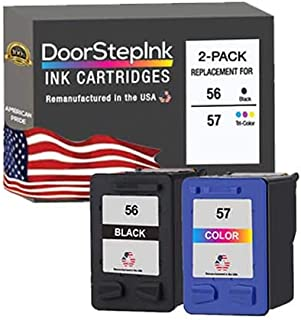 DoorStepInk Remanufactured in The USA Ink Cartridge Replacements for HP 56 & 57 C9321BN C6656AN C6657AN Black and Tri-Colo...