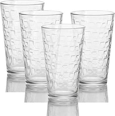 Circleware 40110 Matrix Set of 4-15.7 oz,Heavy Base Highball Tumbler Drinking Glasses
