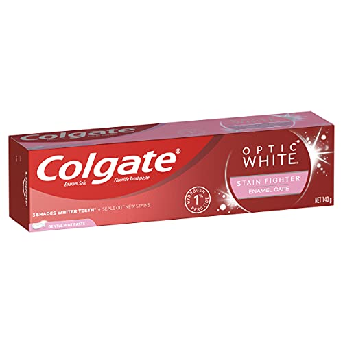 Colgate Optic White Teeth Whitening Toothpaste 140g, Enamel White, Sparkling Mint with 1% Hydrogen Peroxide