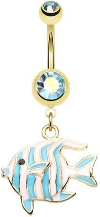 WildKlass Jewelry Golden Tropical Stripe Fish 316L Surgical Steel Belly Button Ring