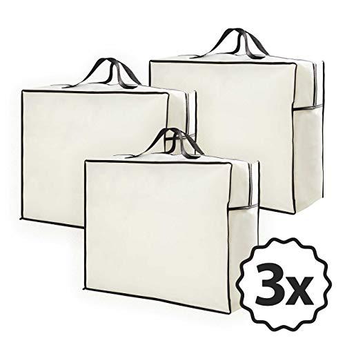 Lumaland 3X Aufbewahrungstaschen für Bettdecken und Kissen - 60 x 50 x 25 cm - Tragetasche für Matratzenauflagen Reißverschluss handliche Tragegriffe