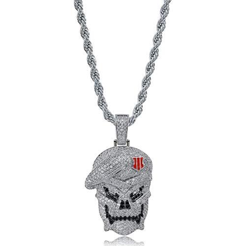 Moca Jewelry Collar de cadena chapado en oro de 18 quilates con diseo de calavera y estilo hip hop, para hombres y mujeres