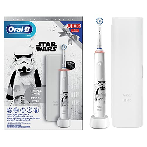 Oral-B Junior Brosse à Dents Électrique Rechargeable avec 1 Manche et 1 Brossette, enfant de 6 ans et plus, Pour un brossage en douceur Édition Star Wars
