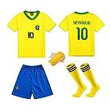 LQsy Ropa Deportiva De Fútbol, Adecuada para Niños, Juego De Parejas, Equipo De Brasil 10#, Bailey 10# Jersey