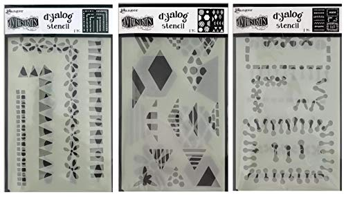 Dylusions by Dyan Reaveley Dyalog Frame It, Stitch It and Quilt It Stencils - Bundle of 3 Items