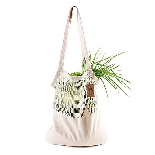 ZOVCO Bolsa de la compra de malla de algodón, bolsas ecológicas, reutilizables, portátil, gran capacidad, para mercados, frescas, plegable, lavable, frutas y verduras, 40 x 45 cm