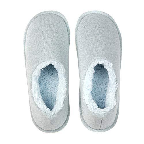 Zapatillas Mullidas De Felpa Cálidas Para Mujer Toboganes De Algodón Acogedores De Piel Sintética Zapatos Antideslizantes Suaves Con Punta Cerrada Para Casa,Azul,M