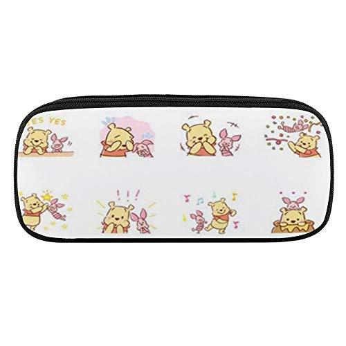 Winnie Pooh Play con Piglet Estuche de cuero con cremallera para bolígrafos, suministros de oficina, escuela, bolsa de cosméticos diaria Essentials