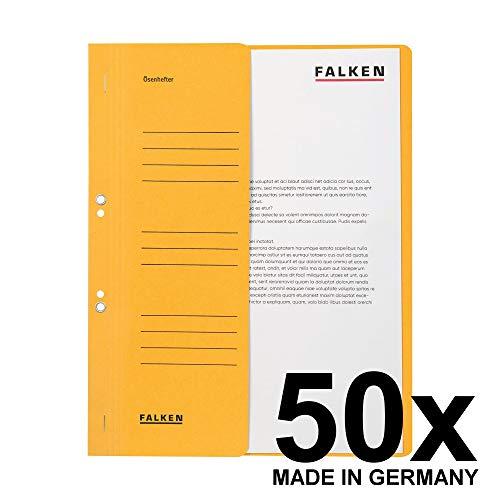 Original Falken 50er Pack Ösenhefter. Made in Germany. Aus Recycling-Karton mit halbem Vorderdeckel und kaufmännischer Heftung für DIN A4 gelb Hefter Sammelmappe Blauer Engel