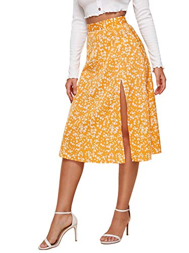 Floerns Women's Split Hem Floral Print Midi Skirt Mustard Yellow M
