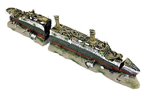 DZL- Acuario Barco Decoraciones de Forma Resina Titanic Ornamento del Acuario del...