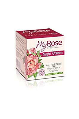 My Rose of Bulgaria Anti-wrinkle Night Cream with Hyaluronic acid, Rosa Damascena extract, vitamins A & E 50ml Paraben free by Lavena My Rose