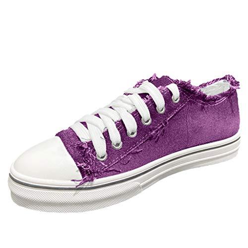 TIZUPI Schuhe Damen In Leichter Leinwand Gehen Sport Lässige Flache Schuhe Schnüren Bequeme Klassische Leinwand Rutschen auf Turnschuhen(Lila,41
