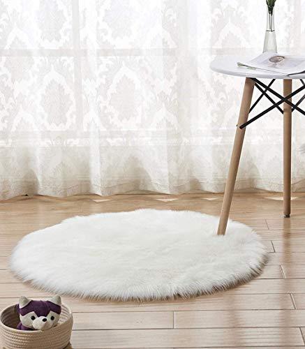 Leyue Alfombra de Piel sintética, alfombras Ligeras Suaves alfombras de Piso Redondas para Dormitorio Sala de Estar, Sala de niños, Blanco/Dia 20'(50 cm)