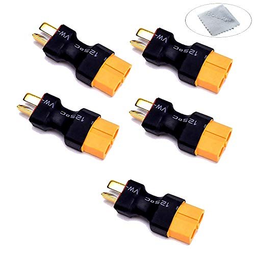 Boladge 5-Pack Conector Macho Deans T-Plug a Enchufe de Conexión Hembra XT60 para avión RC Coche Lipo batería ESC (sin Cable)