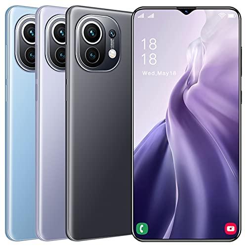 5G Free Mobile Phone, Android 11.0 Free Smartphone, 6.7inch HD, 4GB + 64GB, 50MP Camera, 6800mAh Battery, Cheap Dual SIM Smartphone, Face ID Teléfonos móviles Baratos y Buenos,Black