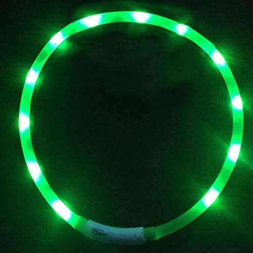 GREENTREEN LED Leuchthalsband Hund, Nacht-Sicherheit Hunde Halsband Leuchtend für Hunde und Katzen, USB wiederaufladbar, 70 cm, Längenverstellbar (Grün)